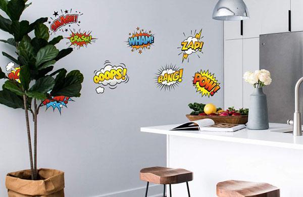 Stiker murali con espressioni dei fumetti, by Wall-art