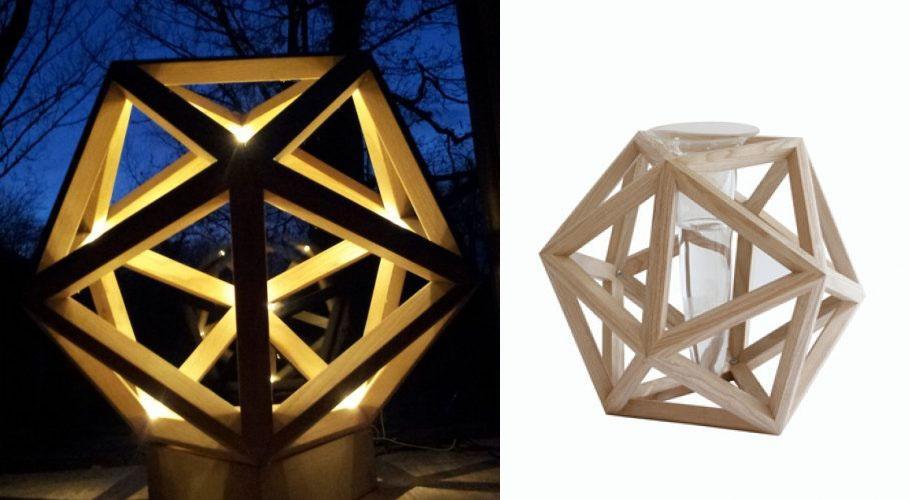 Complemento d'arredo portavaso Icosaedro by Xiloidea