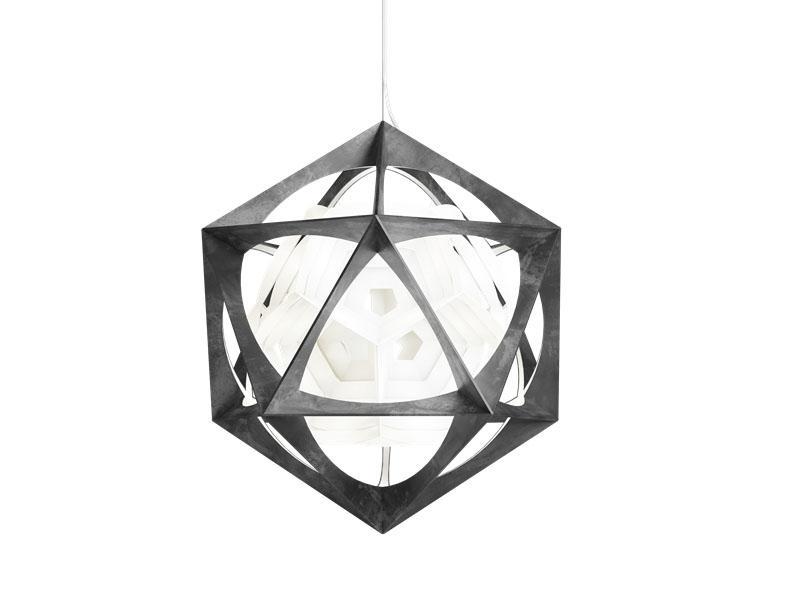 Lampadario a icosaedro OE Quasi Light di Louis Poulsen