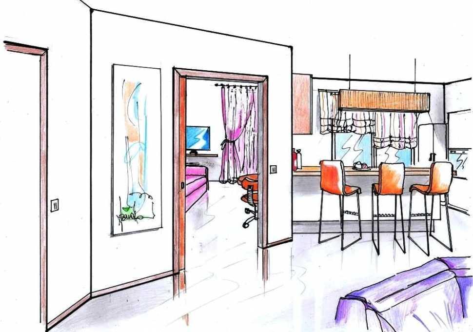 Ricavare una camera in più: disegno prospettico nuova parete diagonale