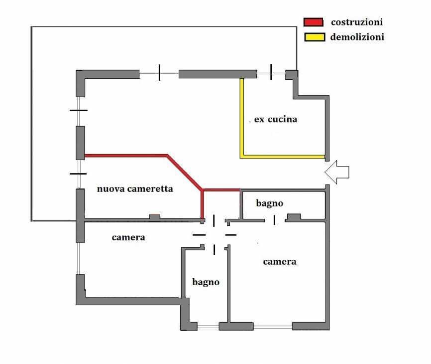 Ricavare una camera in più: pianta con demolizioni e costruzioni