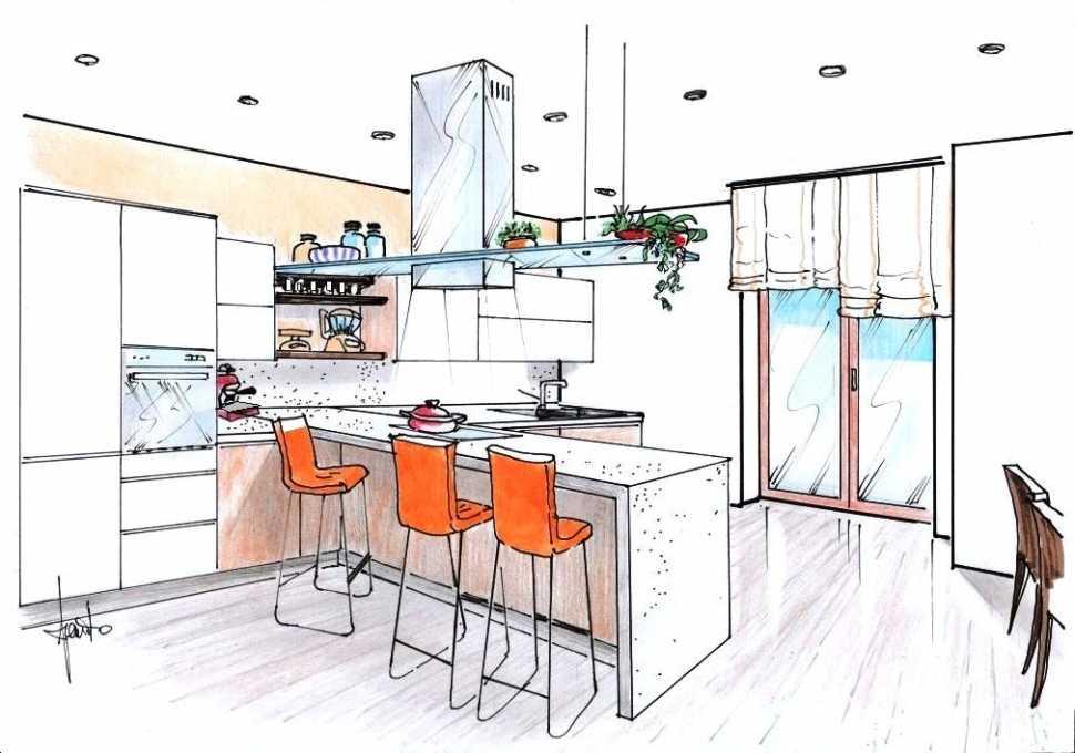 Modificare la cucina: disegno di progetto