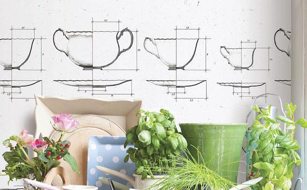 Carta da parati Cups - Design, A. Ferrari e V. Zaltron, foto by Londonart