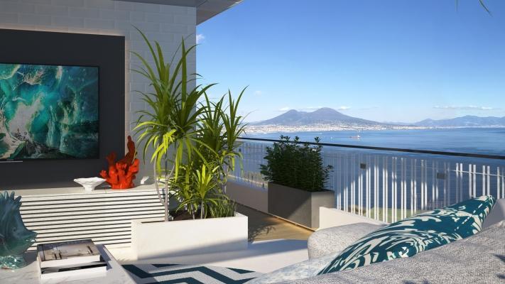 Restyling terrazzo con vista a cura di Blu Space di Napoli