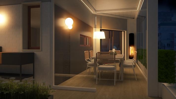 Terrazzo illuminato per renderlo vivibile anche di sera