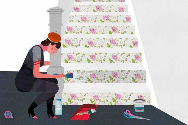 Rivestire l'alzata dei gradini con carta da parati: progetto e immagini di Cartadaparatideglianni70