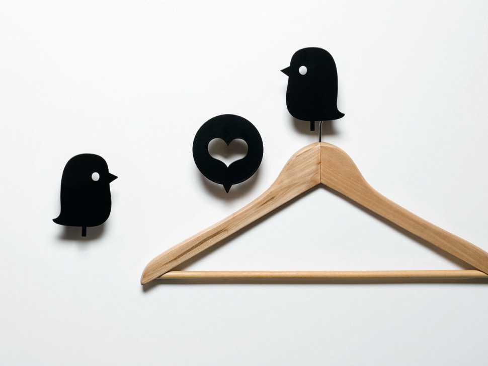 Appendiabiti da parete Birds and Heart By Moustache