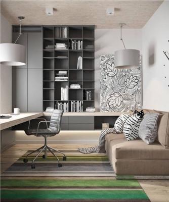 Ufficio domestico in soggiorno con mobili componibili - Fonte foto: Pinterest