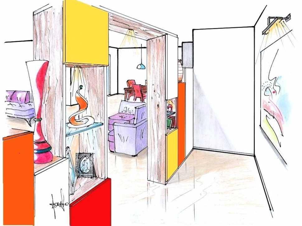 Mobile divisorio ingresso e salone: disegno di progetto