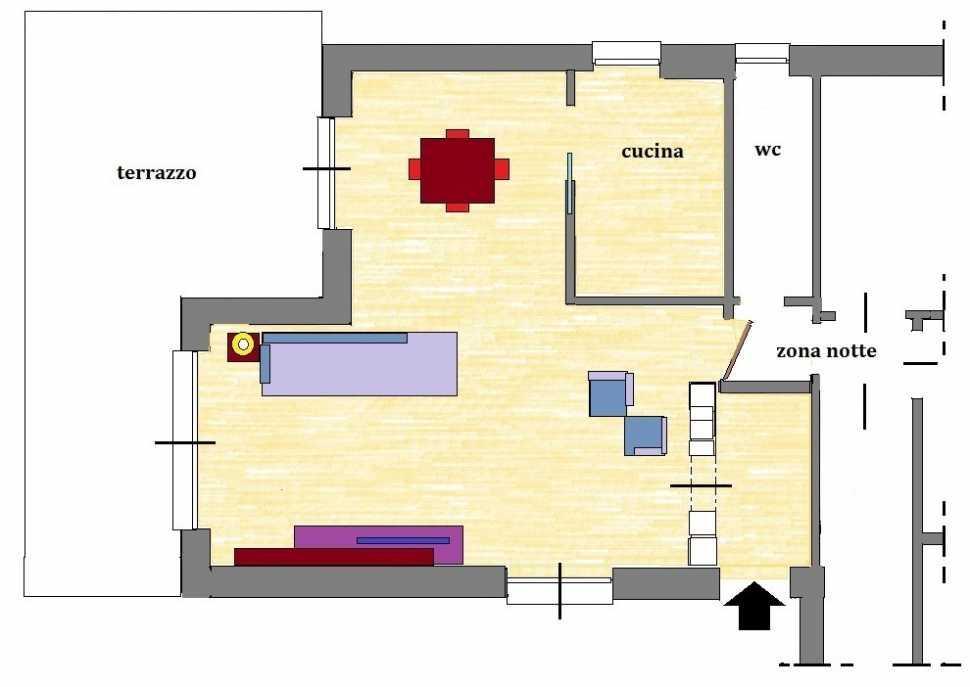 Dividere ingresso e salone: pianta di progetto arredata