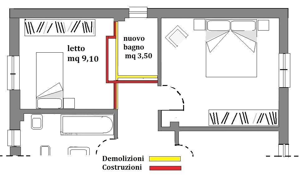 Ampliamento bagno - demolizioni e nuove costruzioni