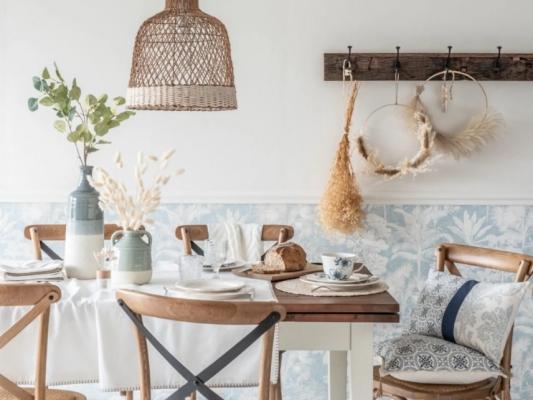 Lampadari da cucina in bambù e cotone, da Maisons du Monde