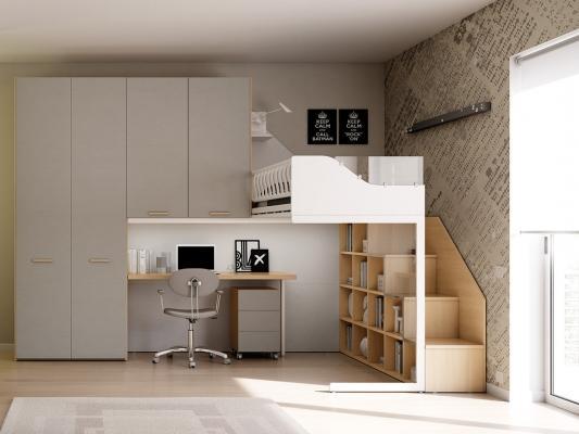 Letto a soppalco e area studio, da Moretti Compact