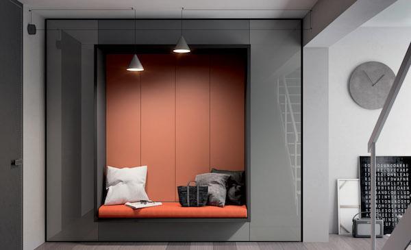 Parete attrezzata Alcova System 251, panca e armadio - Design e foto by Tumidei