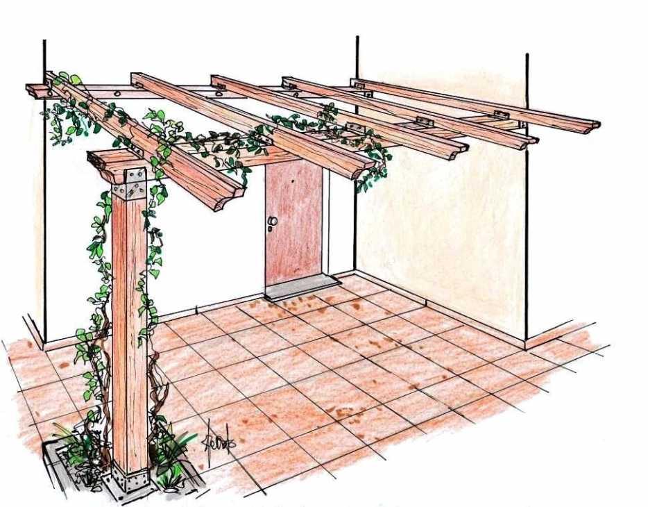 Pergola addossata in legno: disegno di progetto