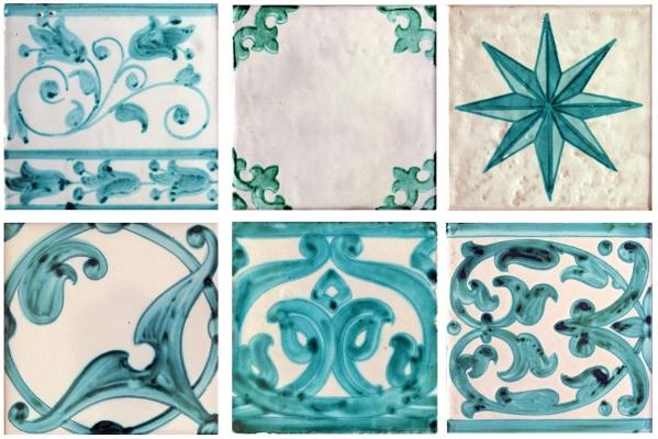 Mattonelle tradizionali di maiolica a motivi verdi di Hispalceràmica