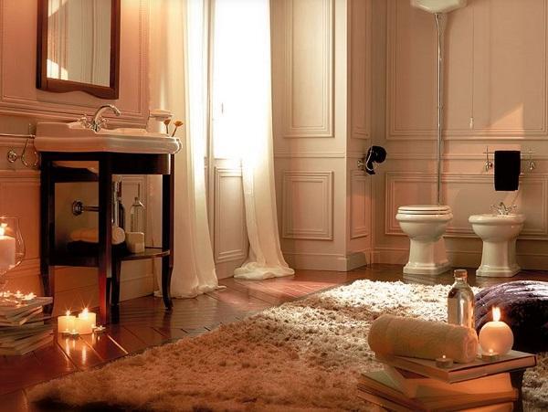 Il bagno completo con i sanitari della serie Retrò di Kerasan.
