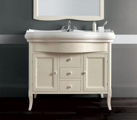 Lavabo Retrò con mobiletto bianco che completa il bagno Kerasan