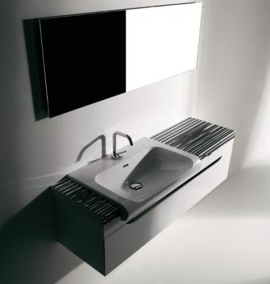 Di Kerasan il lavabo semincasso Inka per il bagno completo