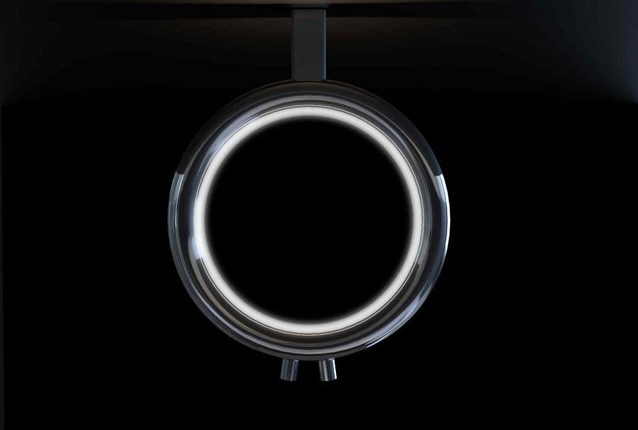 Bao, per il bagno completo il soffione doccia inox tondo con luce di Treemme