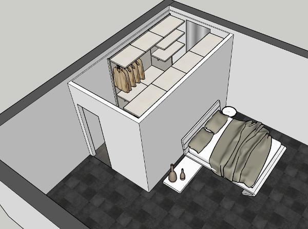 Letto con cabina armadio in muratura che costituisce vano a se