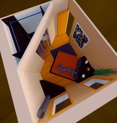 Zona notte con cabina armadio in muratura ad angolo