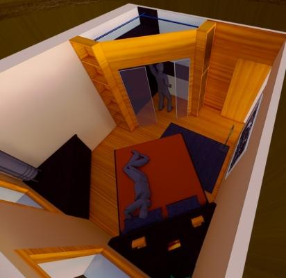 Zona notte con cabina armadio costituita da mobili  ad angolo