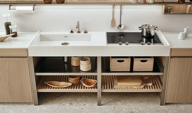 Cucina K-Lab: piano monoblocco cottura e lavaggio