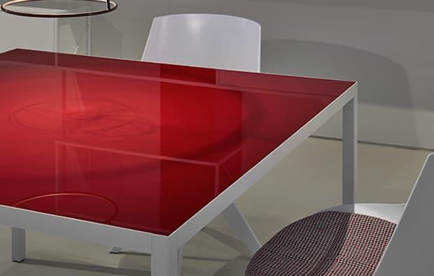 Tavolo Lim 3.0 rosso scuro - Design B. Fattorini per Metrica, foto by MDF Italia