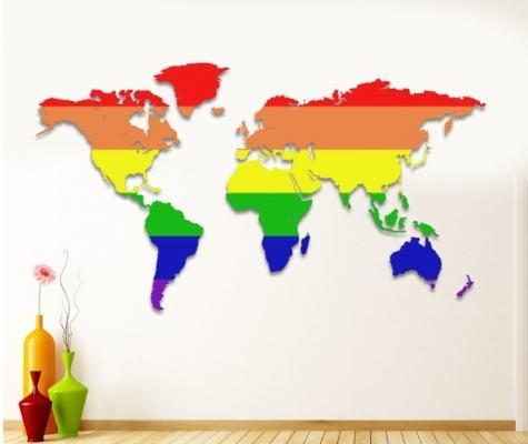 Decorazione a muro planisfero arcobaleno di Arredamentomd