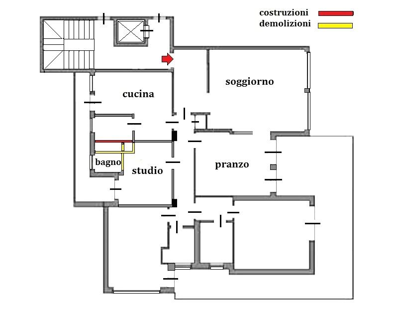 Studio in casa: pianta demolizioni e costruzioni