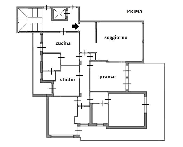 Ufficio in casa: pianta appartamento prima