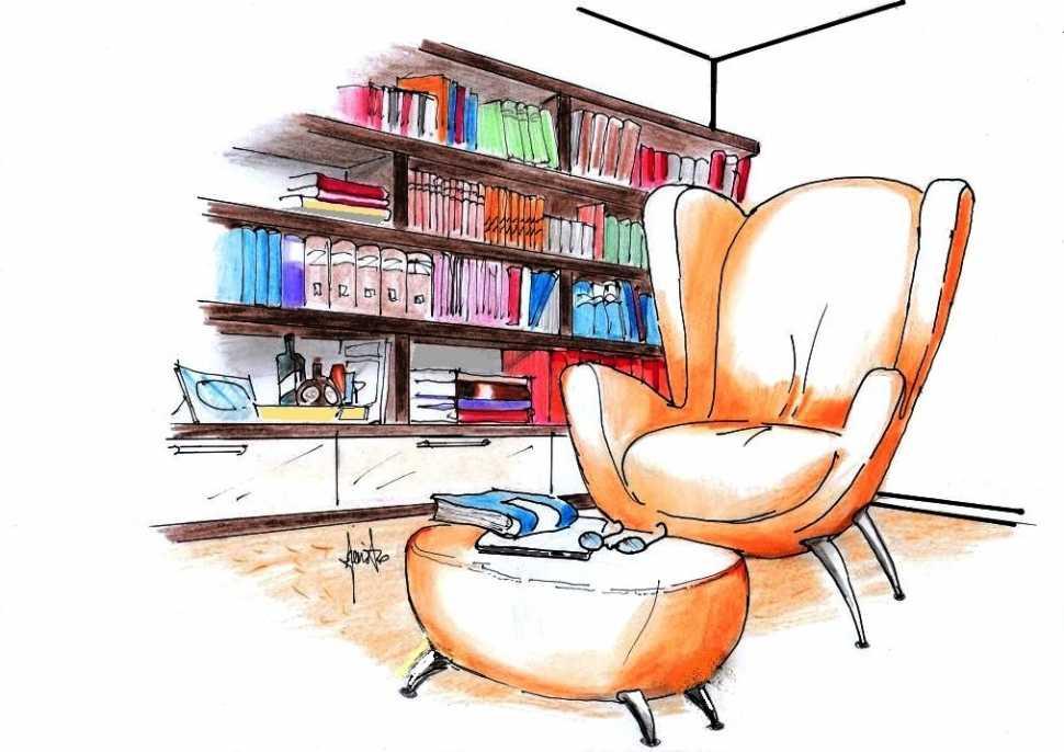 Poltrona da lettura  - relax accanto libreria