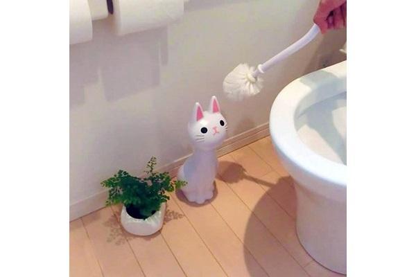 Scopino wc gatto giapponese bianco