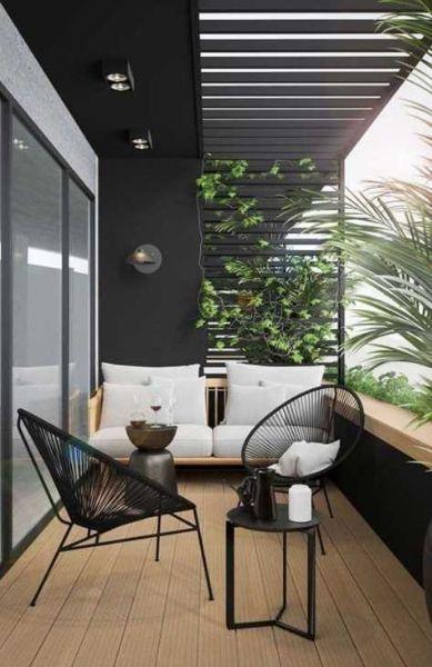 Mini-salotto contemporaneo per balcone - Fonte Pinterest