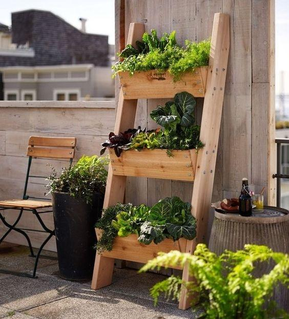 Sempre più spesso si organizzano piccoli orti casalinghi sul balcone - Fonte: Pinterest