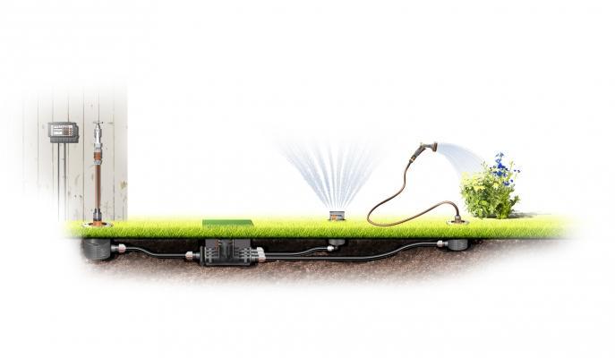 Impianto di irrigazione interrato con programmazione di Gardena