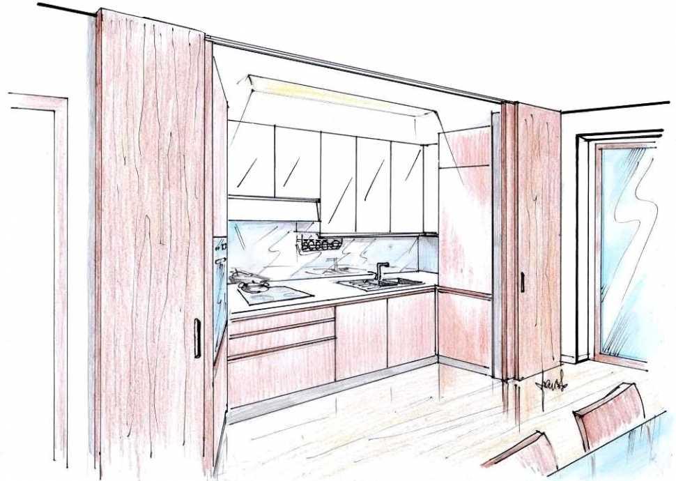 Cucina nascosta in legno - disegno di progetto