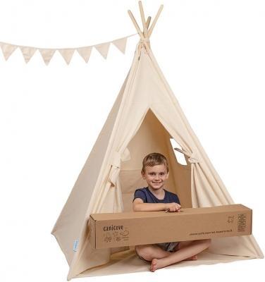 Tenda Teepee in Tela per Bambini (Naturale), in Cotone Robusti Paletti in Legno - AMAZON