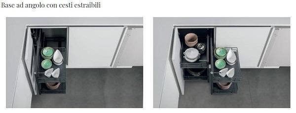 Stosa Cucine, cesti estraibili per base cucina angolare