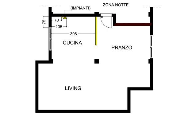 Progettare una cucina, pianta dell'open space