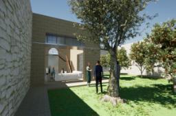 Androne e giardino retrostante di progetto