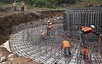 Armatura di un colossale plinto di fondazione per infrastrutture