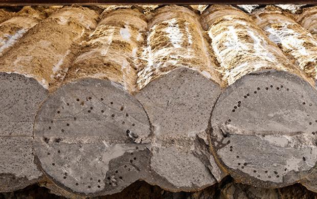 Palificata con pali in calcestruzzo visti dall'alto, by Trev