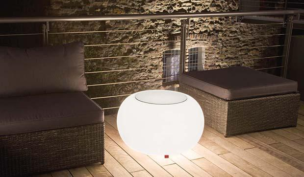 Tavolino luminoso Bubble LED Accu Outdoor di Moree