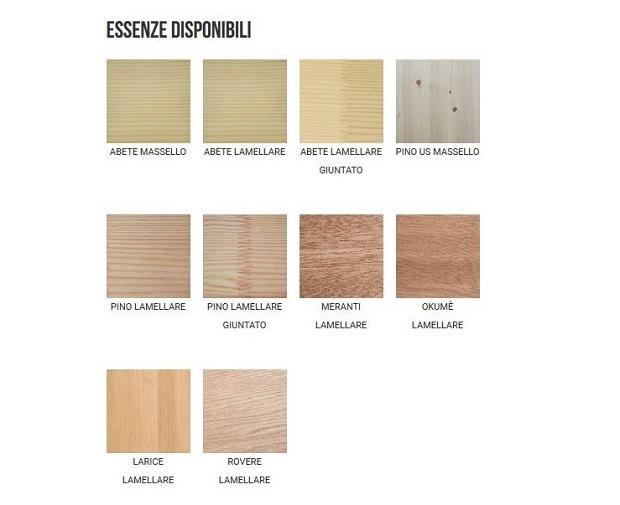 Essenze disponibili per le persiane in legno di Nardelli