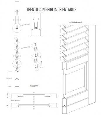 Nardelli, persiana Trento a griglia orientabile, schema tecnico