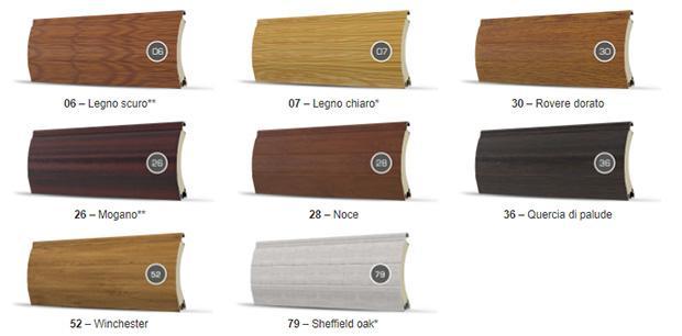 Finiture a imitazione del legno per tapparelle a scomparsa di Dako