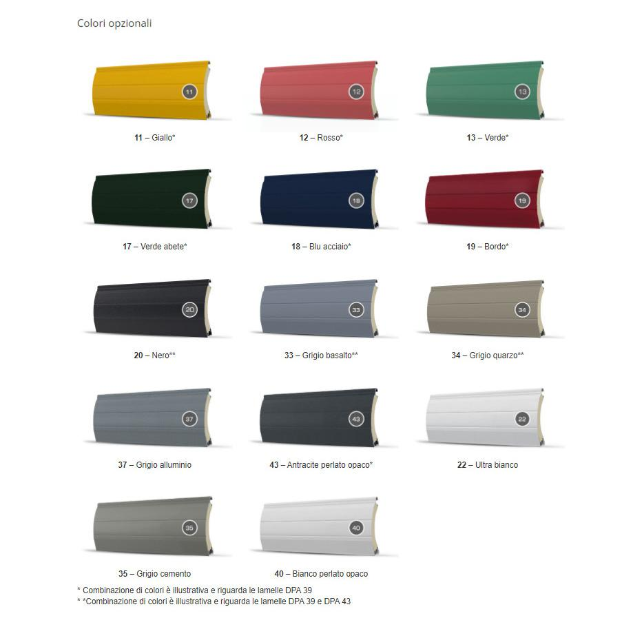 Colori opzionali per tapparelle a scomparsa DK-RSP di Dako