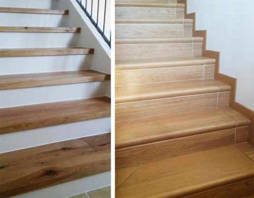 Scale interne con rivestimento in gres a effetto legno, by Zanella Pavimenti